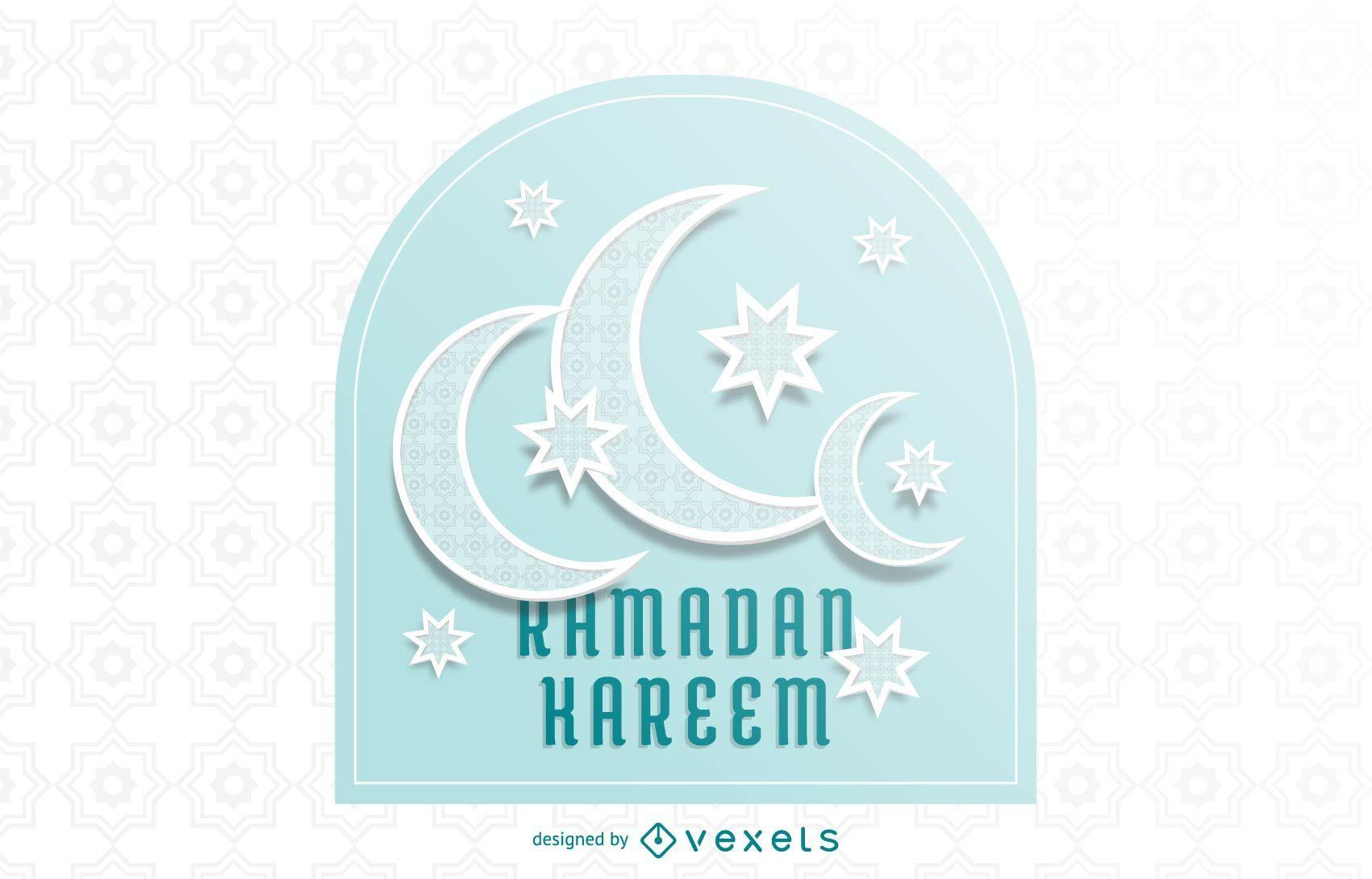 Impressionante tipografia Crescent Moons Ramadan