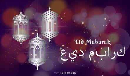 Kreative glühende Moscheenlampe mit Eid-Grüßen