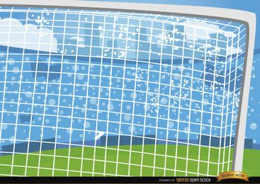 Fondo de dibujos animados de postes de fútbol