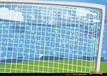 Fundo de desenhos animados de balizas de futebol