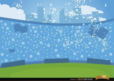 Multidões de futebol nas arquibancadas