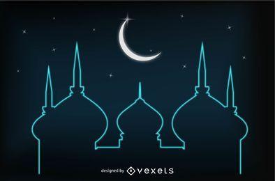 Tarjeta Eid resplandeciente con mezquita y luna