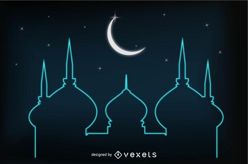 Glühende Eid-Karte mit Moschee und Mond