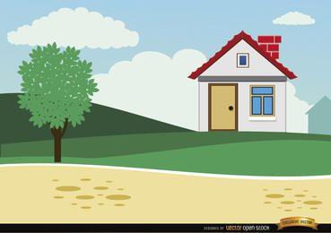 Pequeña casa de campo de dibujos animados de fondo