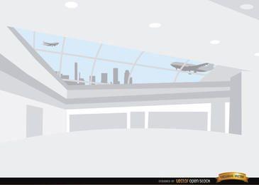 Fondo de pasillo interior del aeropuerto