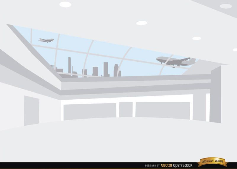 Dentro, aeroporto, corredor, fundo