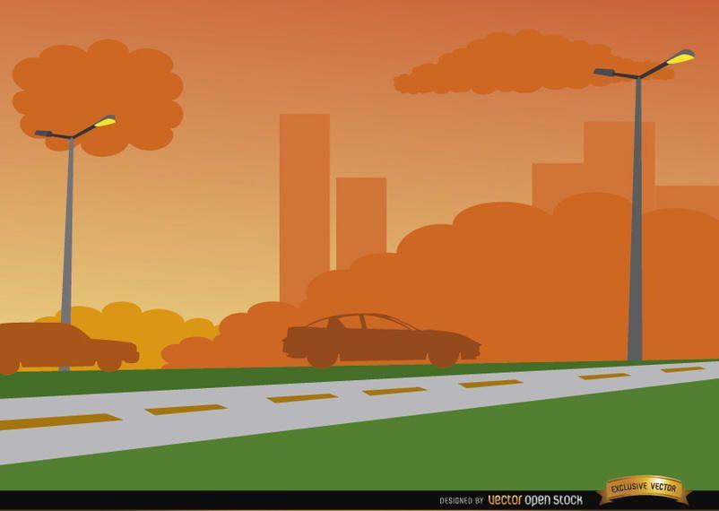 Orange sunset on city road background
