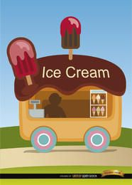 Ice cream wagon cartoon