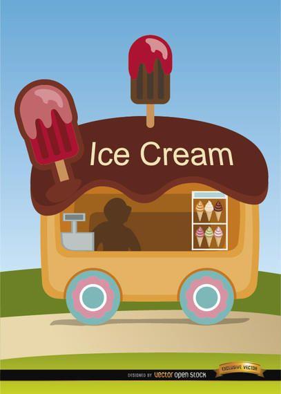 Ice cream wagon cartoon