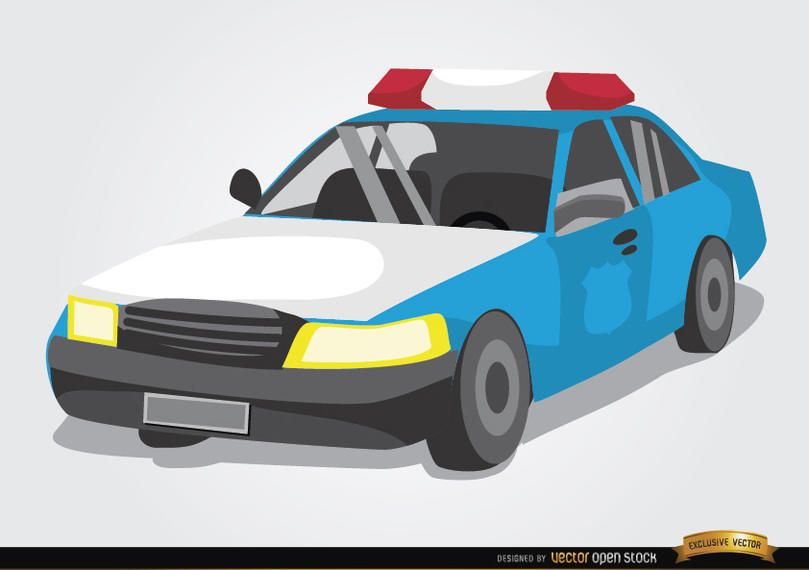 Estilo de cartoon de carro de polícia
