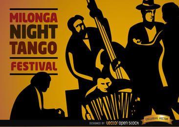 Musiker spielen Tango und tanzen Paar