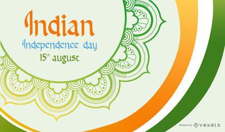 Curvas Tricolor do dia dos independentes que pintam a bandeira indiana