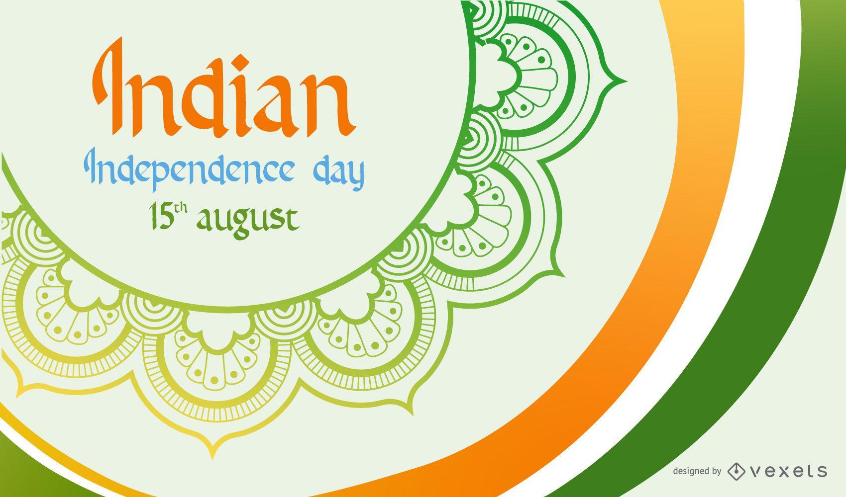 Día de los Independientes Curvas Tricolores Pintura Bandera India