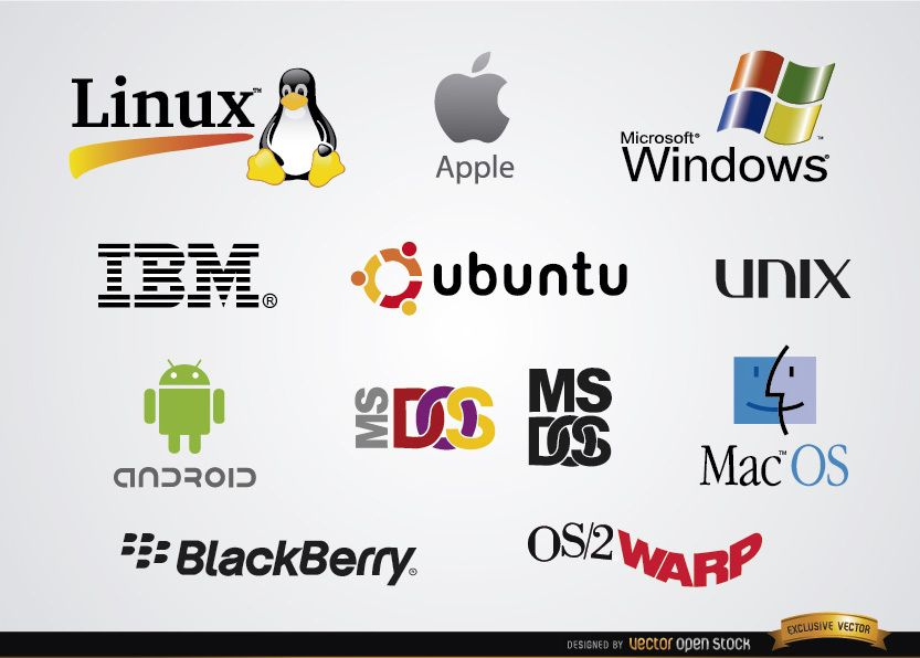 Software operating system company logos - Vector download