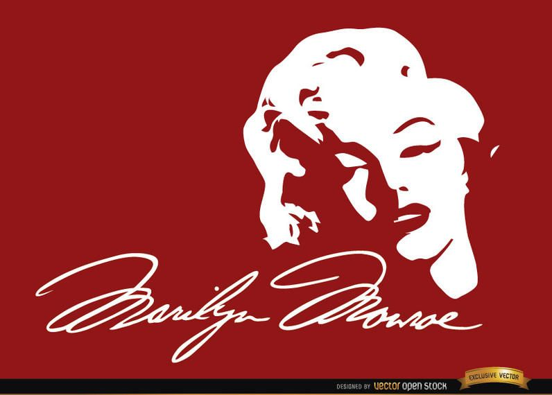Marilyn Monroe face signature background