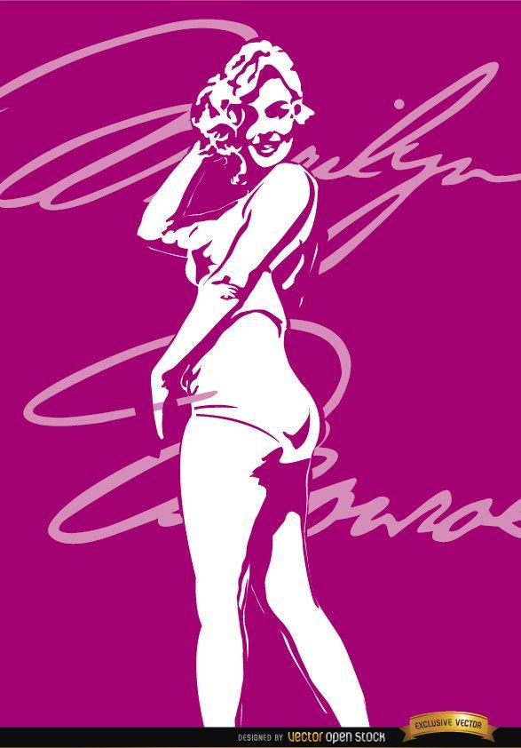 Marilyn Monroe swimsuit signature background