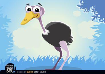 Avestruz animal dos desenhos animados
