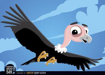 Buitre volando animal de dibujos animados