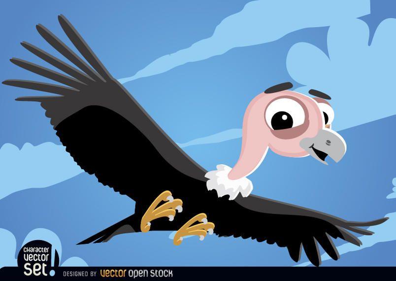 Vulture flying cartoon animal