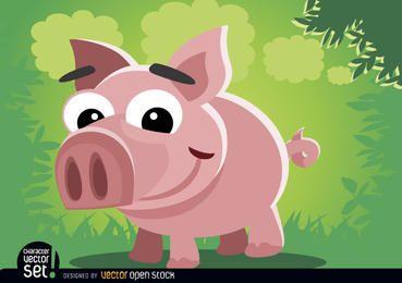 Animal engraçado de desenho animado de porco criança