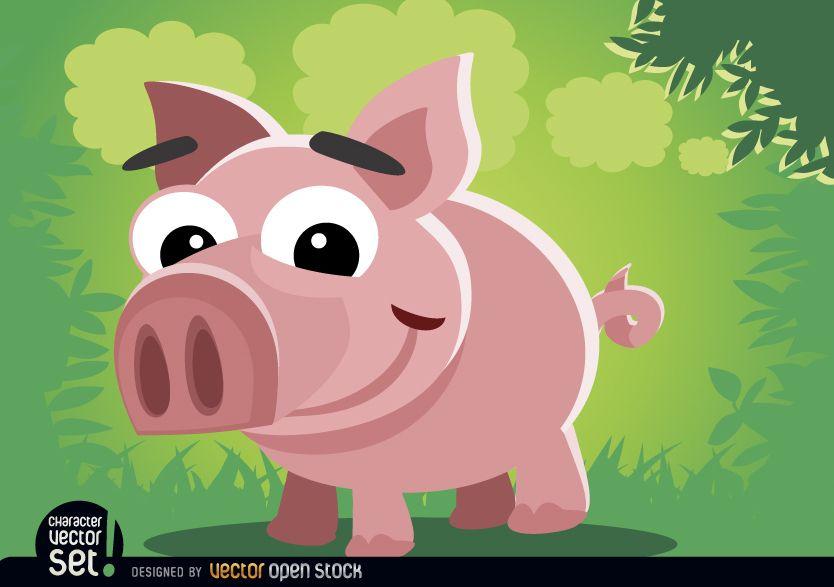 Animal de dibujos animados de cerdo divertido ni?o