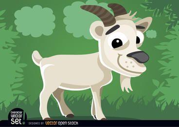 Cabra no animal dos desenhos animados da grama