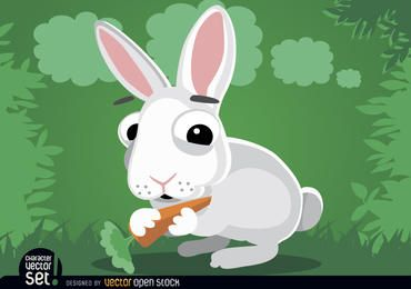 Rabbit eating carrot cartoon animal