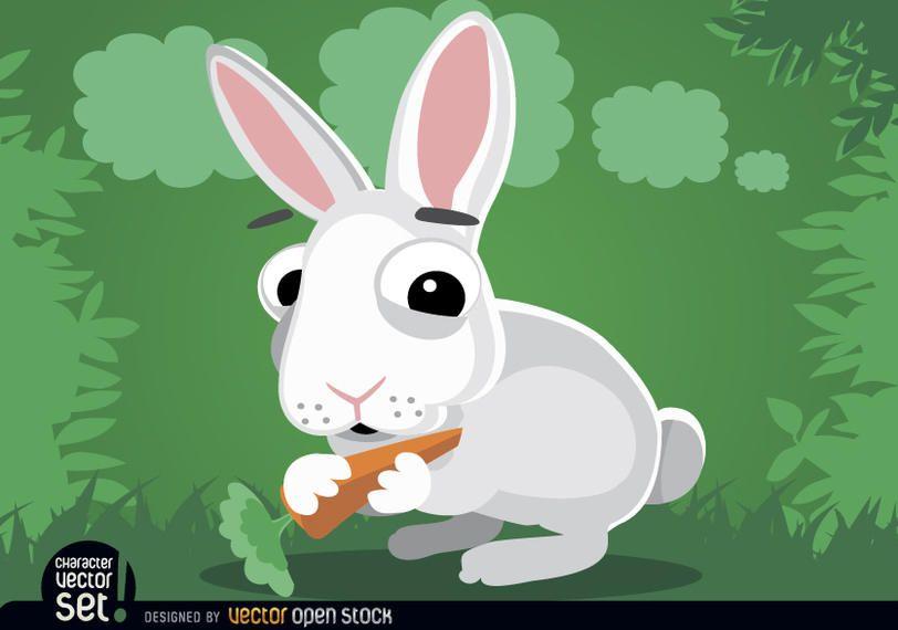 Coelho, comer, cenoura, caricatura, animal