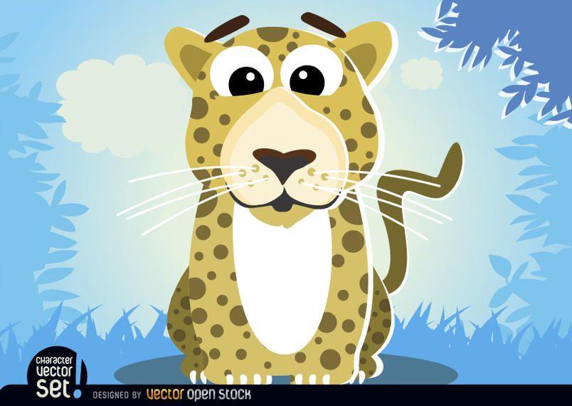 Leopardo en animal de dibujos animados de selva