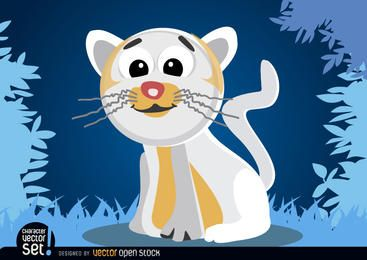 White cat cartoon animal
