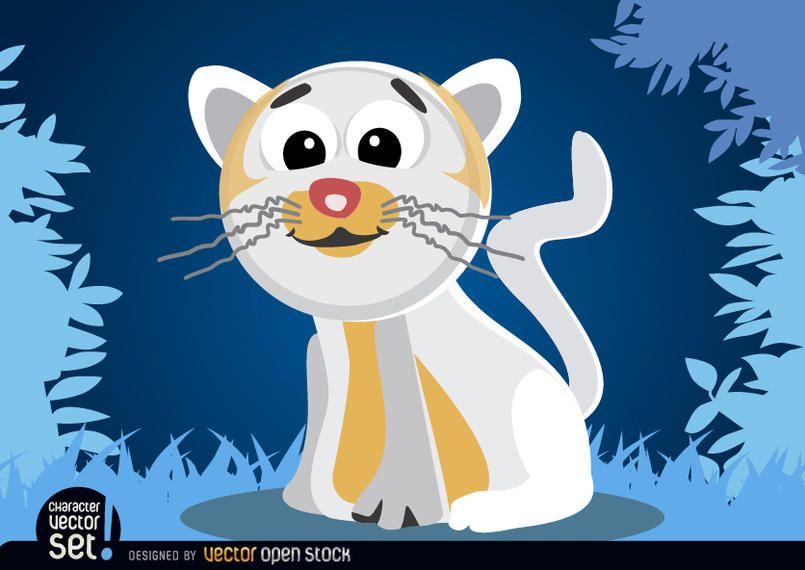 White cat cartoon animal