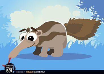 Ant-eater sobre hierba animal de dibujos animados