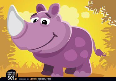 Rinoceronte púrpura en animal de dibujos animados de la selva