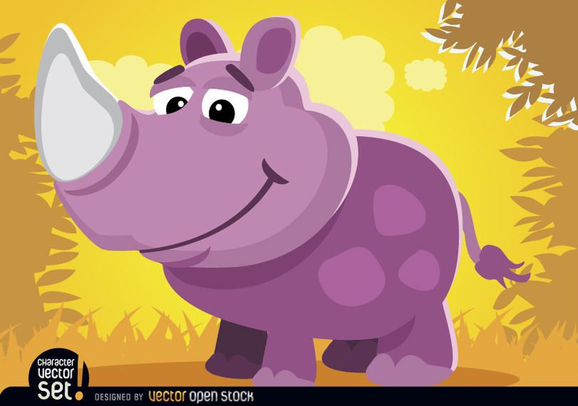 Purple Rhino in jungle cartoon animal