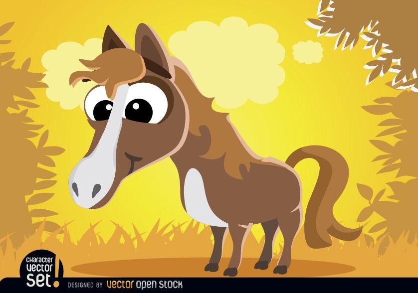 Animal de dibujos animados divertido caballo