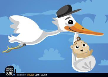 Cigüeña de dibujos animados con bebé en el cielo