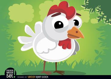 Cute hen animal cartoon