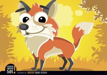 Animal fofo dos desenhos animados da raposa