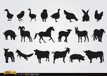 Conjunto de silhuetas de animais de fazenda