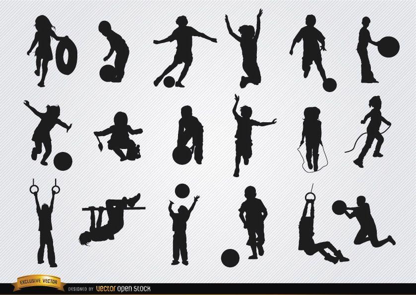 Kids playing 18 silhouettes set
