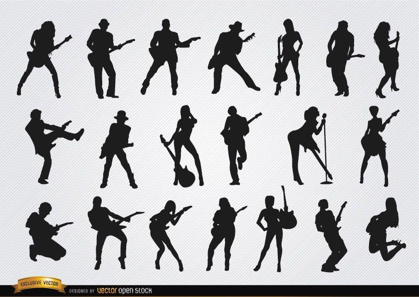 Silhuetas de guitarristas masculinos e femininos
