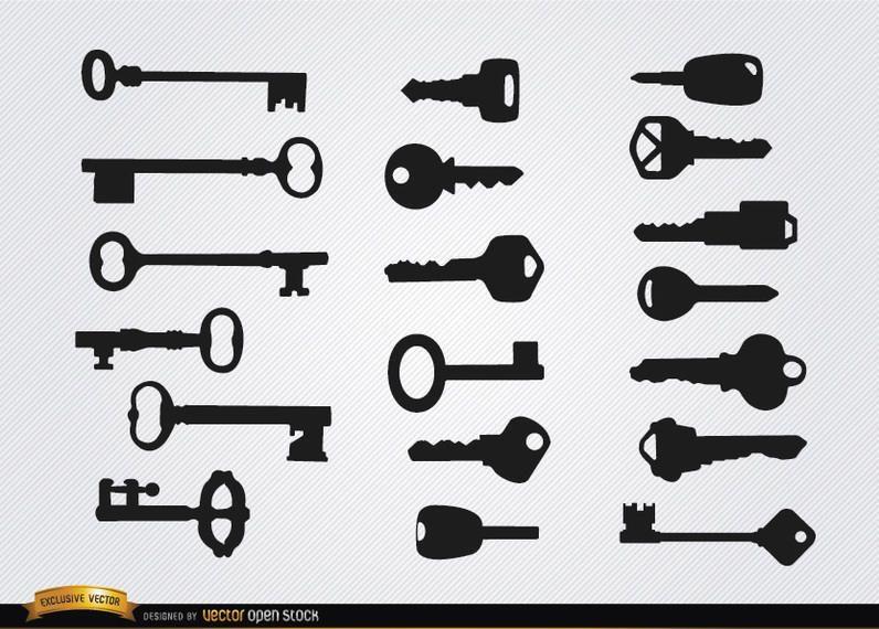 Silhuetas de chaves velhas e modernas