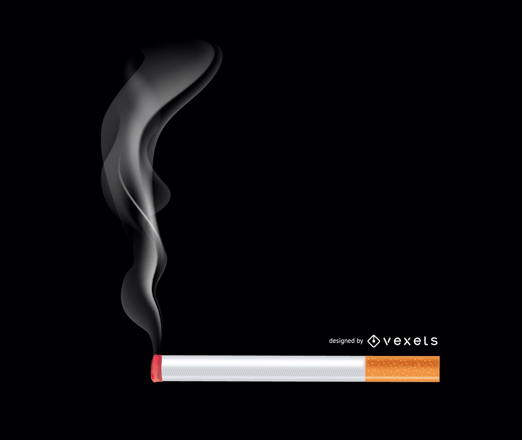 Realistic Burning Cigarette with Smokes