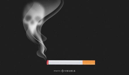 Parar de fumar cigarro com crânio esfumaçado