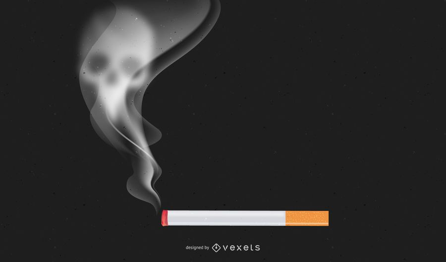 Quit Smoking Cigarette with Smoky Skull