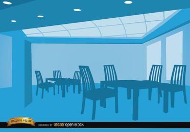 Salón vacío con mesas y sillas.