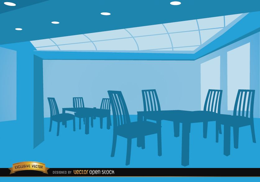 Empty lounge with tables and chairs