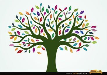 Árvore pintada com folhas coloridas