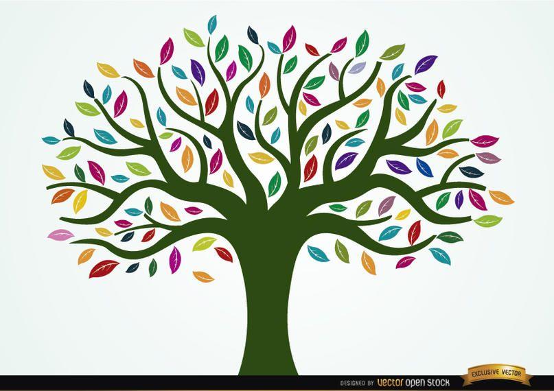 Árbol pintado con hojas de colores.