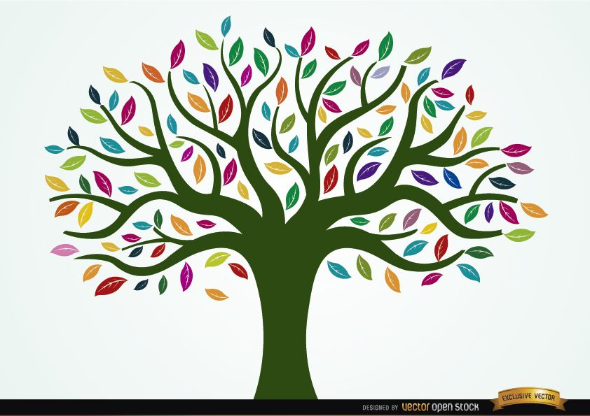Painted tree with colored leaves vector download - Tree images free download ...